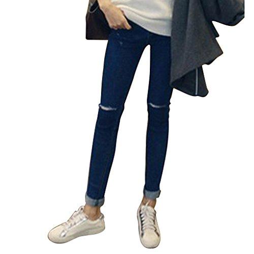 Mujeres Ni?as El¨¢stico l¨¢piz Pantalones Vaqueros de Alta Cintura Estiramiento Broken Holes Pure Jeans Azul