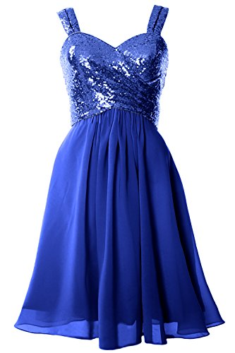 MACloth Gorgeous Sequin Short Bridesmaid Dress Cowl Back Cocktail Formal Gown Azul Real