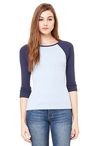 Bella Ladies' 11 Rib 3/4 Sleeve Raglan T-Shirt 2000, Small, Baby Blue/Navy