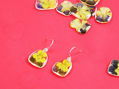 - Real Mini butterfly flower 925 sterling silver earring/Natural dried Iris japonica flower earrings/Resined mini orchid flower ear dangle
