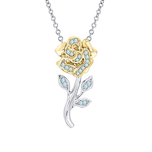 Beautiful Rose Flower Blue Aquamarine Pendant Necklace 18k White & Yellow Gold Over 925 Sterling Silver for Girl's