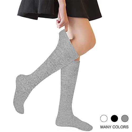 Girls' Knee High Socks Cable Knit 10-16 Years Uniform Tube Cotton Socks Grey 3 - Knit Cable Girls