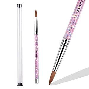 Makartt Acrylic Nail Brush, Art Brush for Acrylic Powder Manicure Pedicure 1PCS Acrylic Nails Art Brush with Liquid Glitter Handle # Size 12