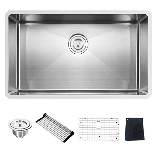 Commercial 32 Inch 16 Gauge 10 Inch Deep Undermount Single Bowl Stainless Steel Kitchen Sink ()