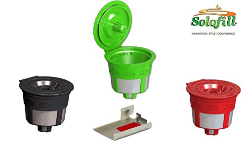 Solofill Cup, Refillable Cup For Keurig Single serve cups Brewers, Red/Black and Green (Pack of 3) + Soloclip - Solofill Cup