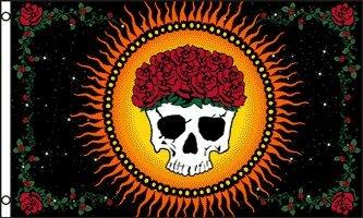 (Large Mystic Skull & Roses Flag, 3'x5' dead bong grateful )