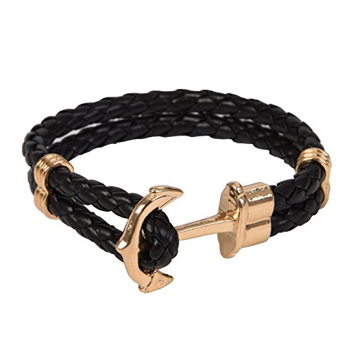 - RIVERTREE Gold Classic Anchor Braided Leather Bracelet Black for Men