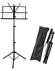 Display4top Höjdjusterbart musikställ, bärbart fällbart metallstativ med bärväska, lätt för förvaring eller resor, svart