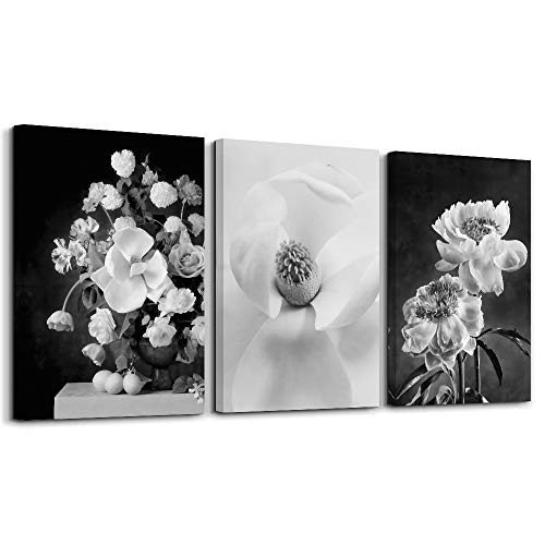 Wall Art Canvas Decor Black and White Flowers 3piece 12