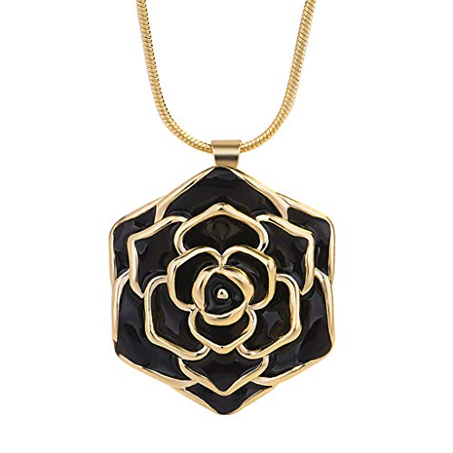 (Toponly Sleek Minimalist 24k Gold-Plated Rose Pendant Clavicle Chain for Women)