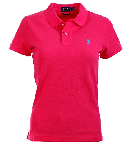 Ralph Lauren Womens Skinny Fit Mesh Polo Shirt (S, Shocking Pink) (Ralph Top Polo Lauren)