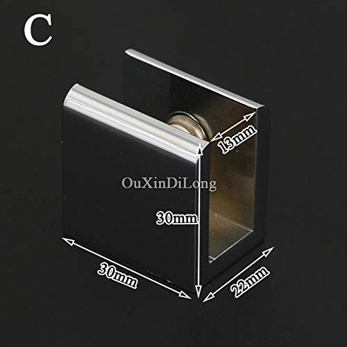 (Ochoos 10PCS Brass Glass Clamps Clips Glass Fixed Holder Brackets Shelf Support Connectors Furniture Hardware No Drilling - (Color: C))
