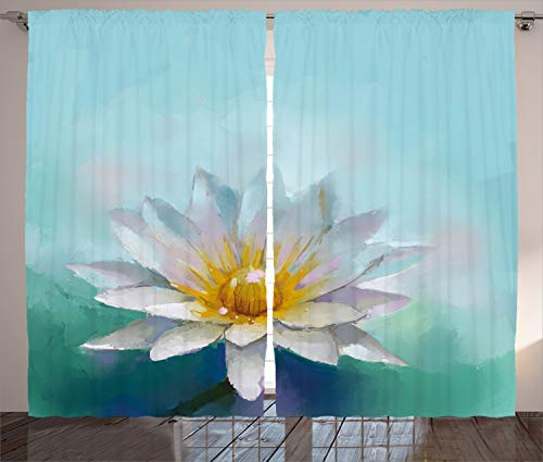 """Ambesonne Flower Curtains, Detailed Impressionist Close up Drawing Lotus Like Daisies ling Herb Image Print, Living Room Bedroom Window Drapes 2 Panel Set, 108"""" X 90"""", White Blue"""