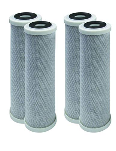 SpectraPure (R.O. Filters) Compatible Carbon Block Filter Cartridge, 1 Micron, 4 Pack by CFS -