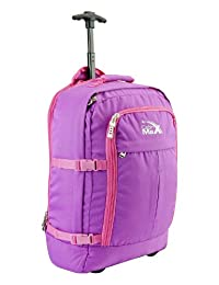 Cabin Max Lyon Flight Approved Bag Wheeled Hand Luggage - Carry on Trolley Backpack 44L 55x40x20 - Pink/Purple