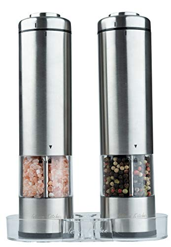 Electric Salt and Pepper Grinder Set by Intense Kitchen - Battery Operated Stainless Steel, LED Light and Clear Container Mills - Adjustable Ceramic Coarseness - Fast Powerful Mill - One Hand-Button ()