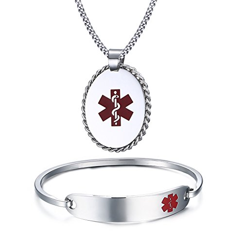 Free Engraving Stainless Steel Medical Alert ID Bangle Bracelet +Pendant Necklace,7.5
