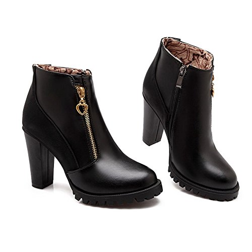 High PU Boots Women's Sole with Materials Slipping Heels Heels Rough Blend and Black Allhqfashion gqwYI4xw