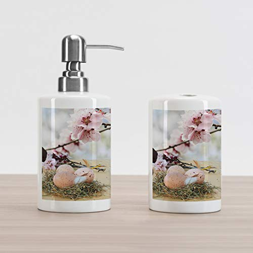 Lunarable Easter Soap Dispenser and Toothbrush Holder Set, Chocolate Bunny with Pink Japanese Cherry Blossom Tree Branches on Oak Table Picture, Decorative Ceramic Bathroom Accessory Set, Multicolor