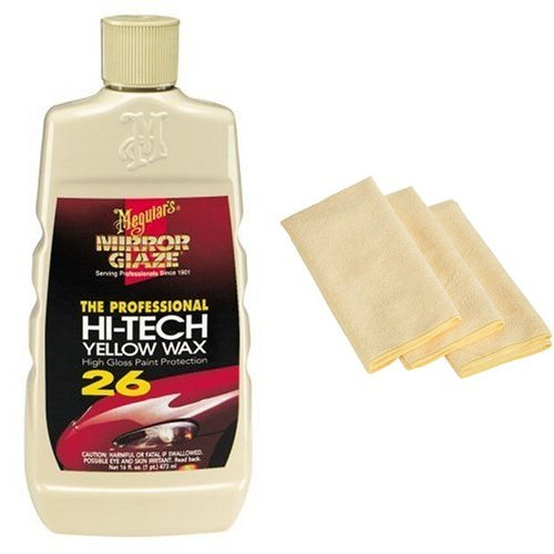 Meguiar's M26 Mirror Glaze Hi-Tech Yellow Wax - 16 oz. with 3 AmazonBasics Thick Microfiber Cleaning Cloths