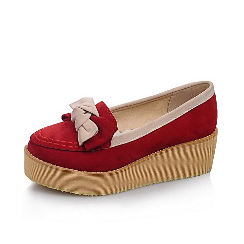 AllhqFashion Womens Imitated Suede Assorted Color Pull On Round Closed Toe Pumps-Shoes Red