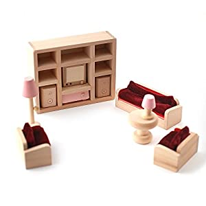 Wooden Dolls House Furniture Set Pink Living Room Toys Games