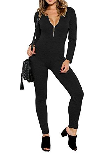 Fixmatti Women Catsuit Cotton Lycra Long Sleeve Yoga Bodysuit Jumpsuit Black - Bodysuit Slim Spandex