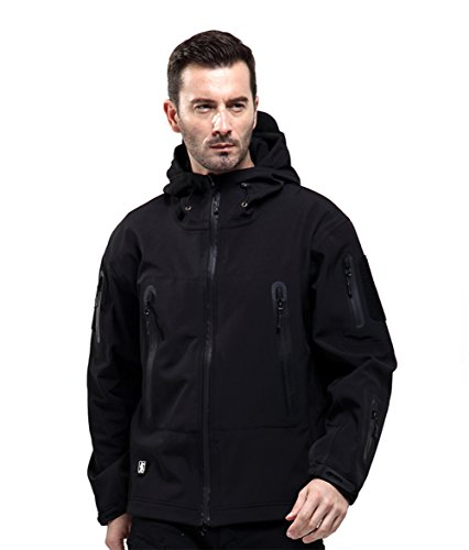 FREE SOLDIER Men Outdoor Tactical Softshell Jacket Waterproof Army Military Hooded jacket (Black XXL)