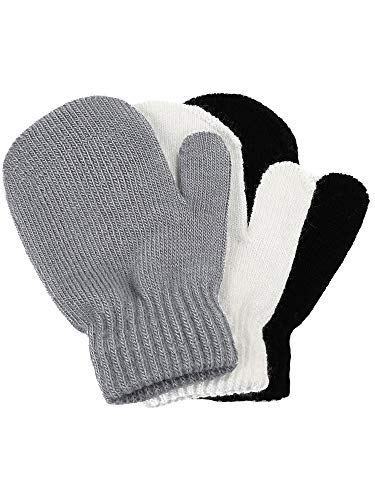 Price comparison product image Satinior 3 Pairs Toddler Magic Stretch Mittens Little Girls Soft Knit Mitten Baby Boys Winter Knitted Gloves (5-10 Years Size, Multicolor 1)