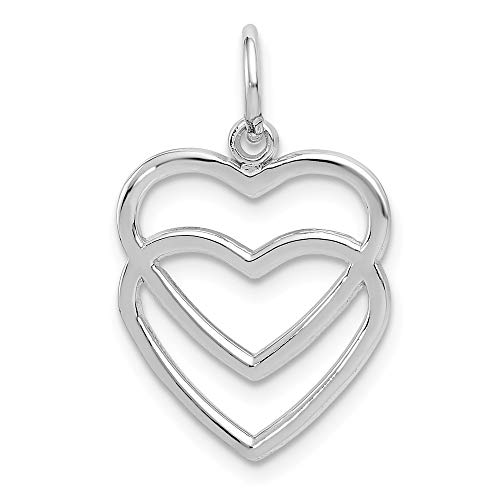 14k White Gold Double Heart Pendant Charm Necklace Love Multiple Fine Jewelry Gifts For Women For Her (White Heart Charm Gold)
