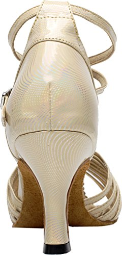 Salabobo AQQ-6197 Womens Wedding Party Tango Peep Toe Customize Heel PU Dance Shoes Yellow wvZpH8