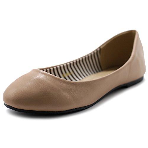 Ollio Scarpa Da Donna Balletto Basic Leggero Comfort Punta Tonda Pelle Piatta Rosa