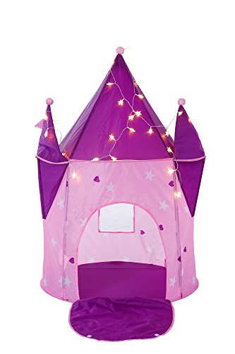 "Alvantor Kids Tents Princess Crystal Castle with LED Lights Play-House Indoor and Outdoor Pink Pop Great Game and Toy Gift for Children Fun (Patent Pending), Crystle /LED, 35""x35""x51"""