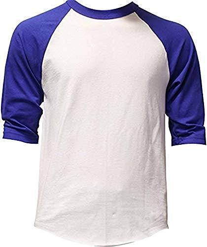DealStock Casual Raglan Tee 3/4 Sleeve Tee Shirt Jersey White/Royal - Raglan Field