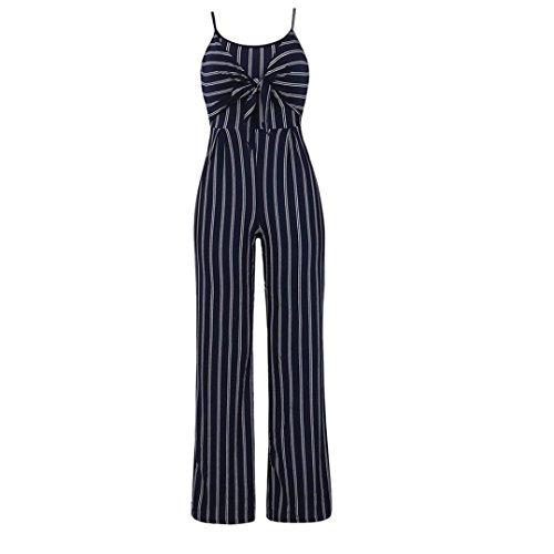 Robe Longue Femme Ete Boheme Plage Printemps Robe Chic Retro Clubwear  Strappy Rayé Combi Bandage Body Partie Combinaison (Navy c043334c625