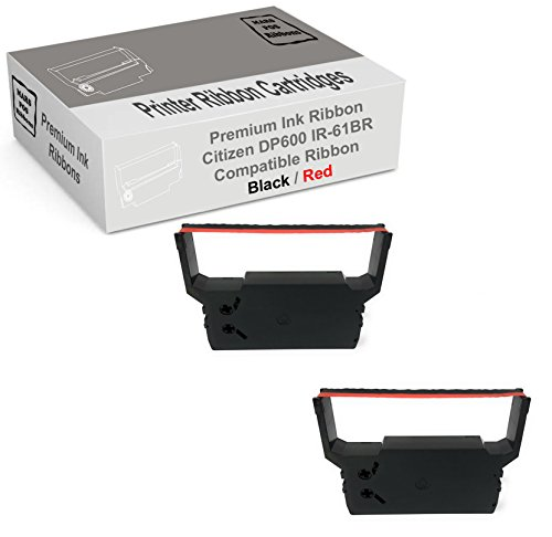 MARS POS Ribbons Compatible with Citizen DP600 Red Black Printer Ribbon 2 Pack Citizen IR61BR Replacement for DP 600 DP 611 DP 612 iDP 3516 iDP 3520 iDP 3531