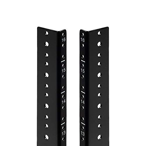 NavePoint 16U Vertical Rack Rail Pair DIY Kit with Hardware, Black