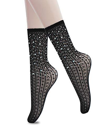 - CHRLEISURE Women's Sparkle Rhinestone Fishnets Sexy Tights High Waist Stockings 1819
