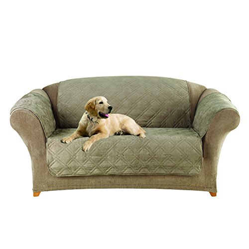 SureFit  Microfiber Loveseat Pet Throw/Slipcover with Arms, Sable