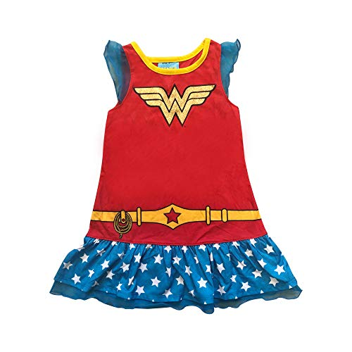 Wonder Woman mesh Short Sleeve Soft Knit Wonder Woman Glitter Logo on Front of The Night Gown Red -