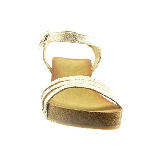 Angkorly - Chaussure Mode Sandale plateforme ouverte femme clouté liège brillant Talon compensé plateforme 6 CM - Or