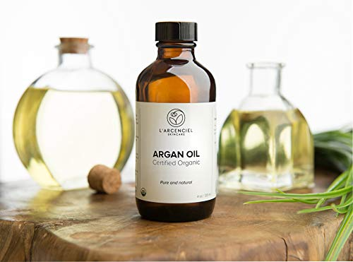 Organic Argan Oil (4 oz.) by L'arcenciel Skincare. 100% Pure and Natural, Cold Pressed, USDA Certified Organic Moisturizer for Face, Hair, Skin and Nails