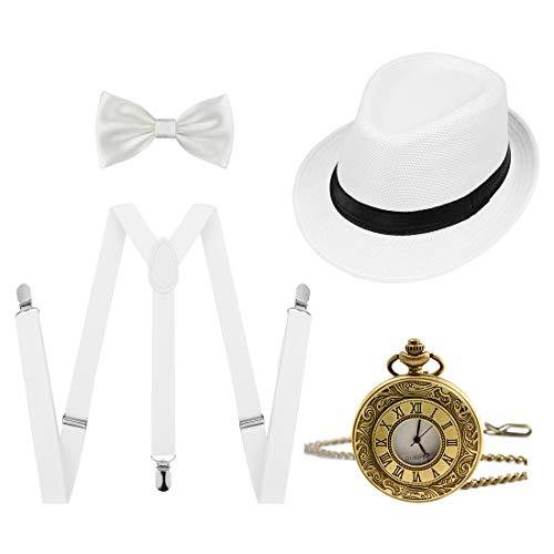 Ziyoot 1920s Accessories Men's Gatsby Gangster Costume Men Roaring 1920s Set Panama Y-Back Suspenders Bow Tie -