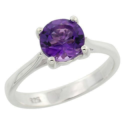 Sterling Silver Amethyst 1 1 4 ct Solitaire Ring 1 4 inch wide, sizes 6 – 10