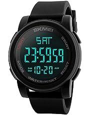 SKMEI 1257 Digital Men's Sports Watch Multifunction Dual Time Silicone Watch - Black