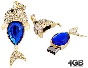 Crystal Decorated Fish Design 4GB USB Flash Drive (Blue)