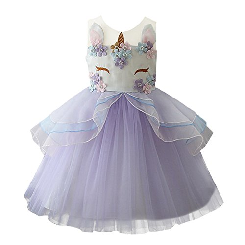 Little Girls Layered Rainbow Ribbon Tutu Skirt Dress Ballet Tiered Purple 2-3 Years