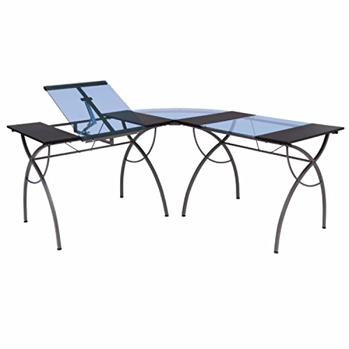 Offex Home Office Catalina Split Top LS Workcenter Pewter / Blue Glass - Ls Workcenter