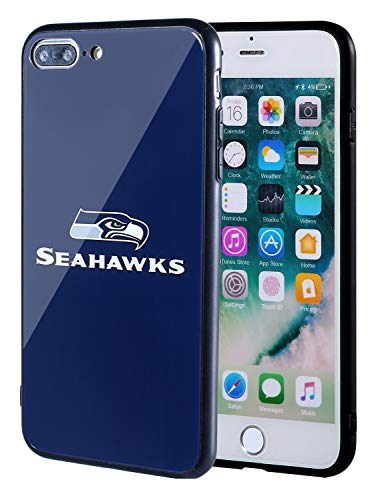 (Sportula NFL Phone Case - 9H Tempered Glass Back Cover and Silicone Rubber Bumper Frame Compatible Apple iPhone 8 Plus / 7 Plus (Seattle Seahawks))