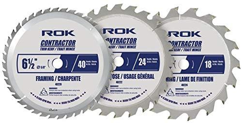 ROK 6-1/2 inch Circular Saw Blade Set, Pack of 3